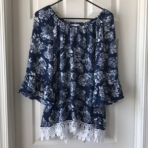 Navy Floral with Crochet/ Ruffle Trim Top